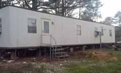 12 x 60 Mobile Home formally used as an office. 2 Br. 1 Ba. includes toilet & lavatory. New-unused heating system and 2 window a/c units included. Would make a nice hunter camp or with a little work, a nice rental unit. Call Herb 334 247-2646